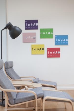 Die Geschichte der spot.consulting GmbH im Foyer der Firma.
